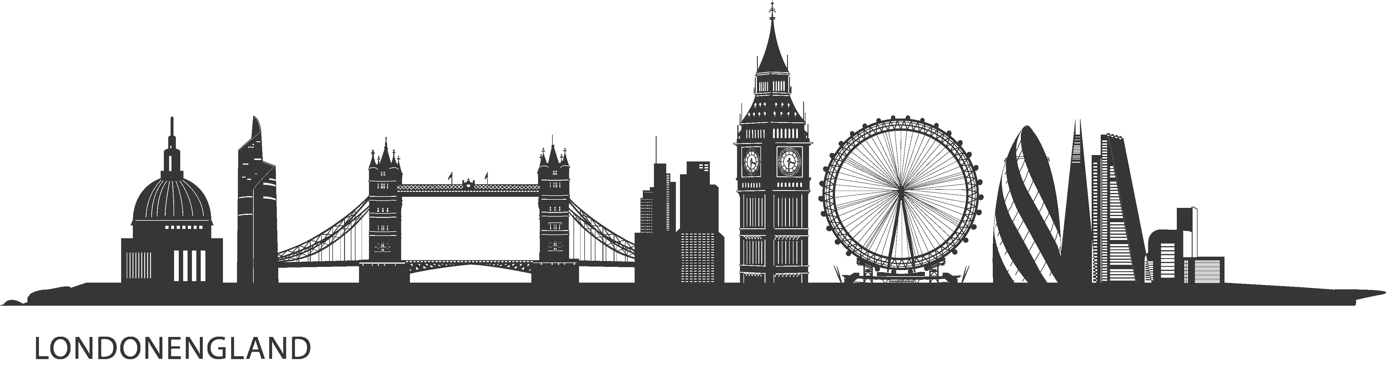 Skyline clipart skyline london. Central silhouette painting city