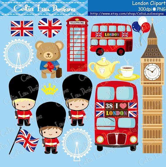 London clipart cute. Digital set includes graphics