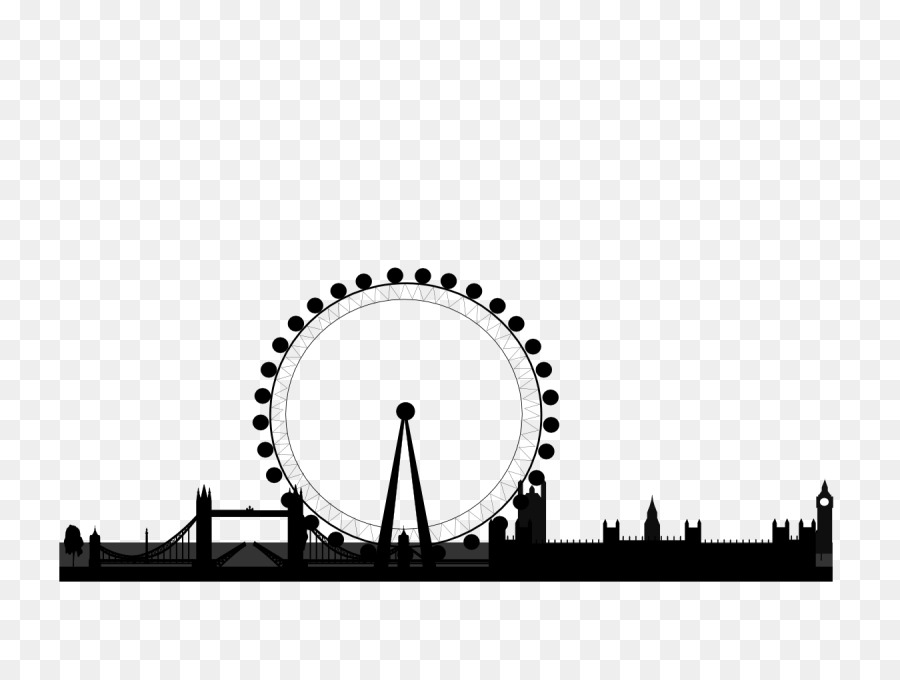 Skyline silhouette png download. London clipart ferris wheel london
