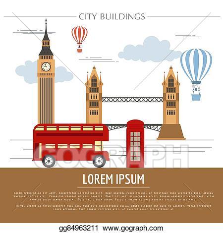 London clipart graphic. Vector art city buildings