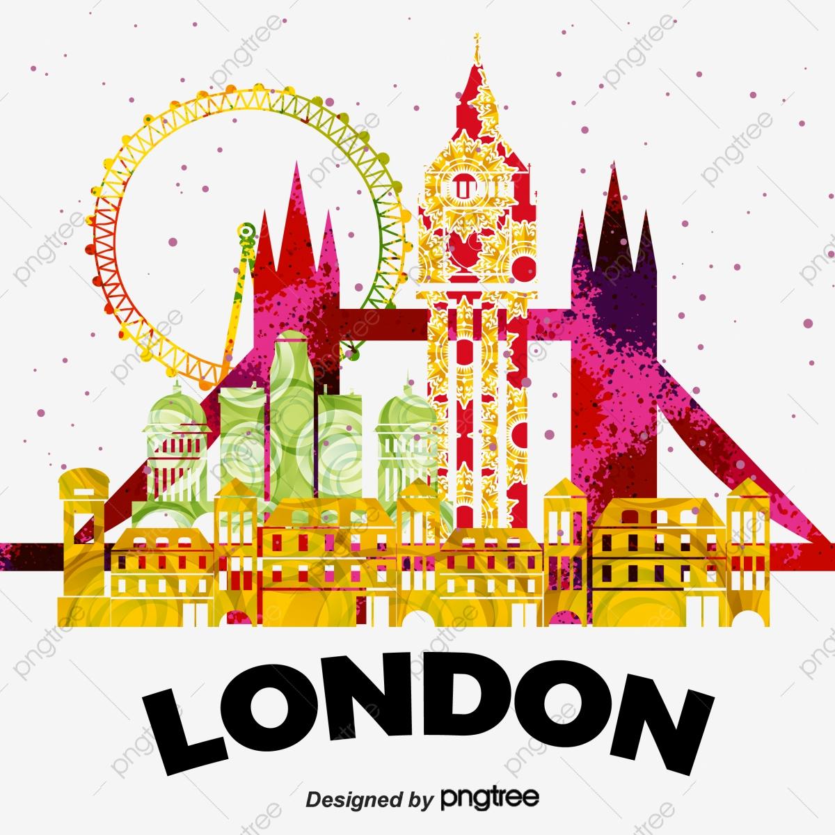 Watercolor . London clipart graphic