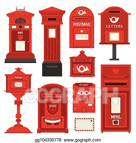 Vector art red postboxes. Mailbox clipart vintage mailbox