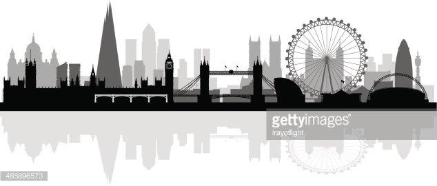 London clipart skyline. City silhouette background premium
