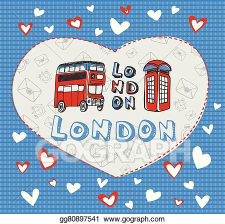 London clipart theme london. Vector art postcard on