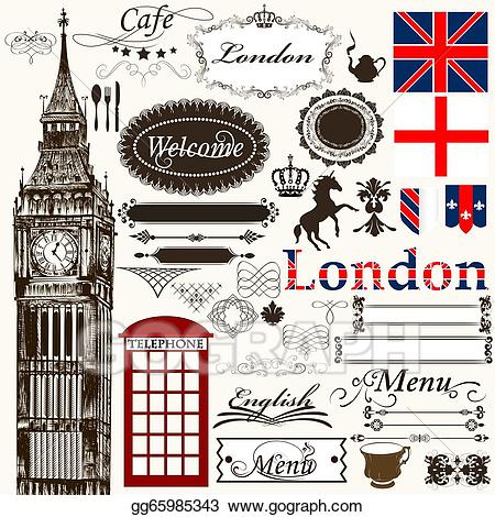 London clipart theme london. Drawing calligraphic design elements