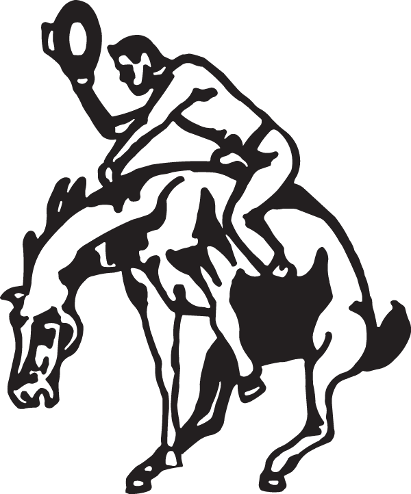 Longhorn clipart decal. Cowboy on a bucking