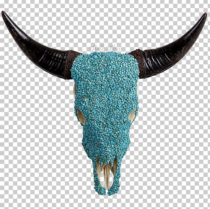 Texas turquoise skull gemstone. Longhorn clipart horns
