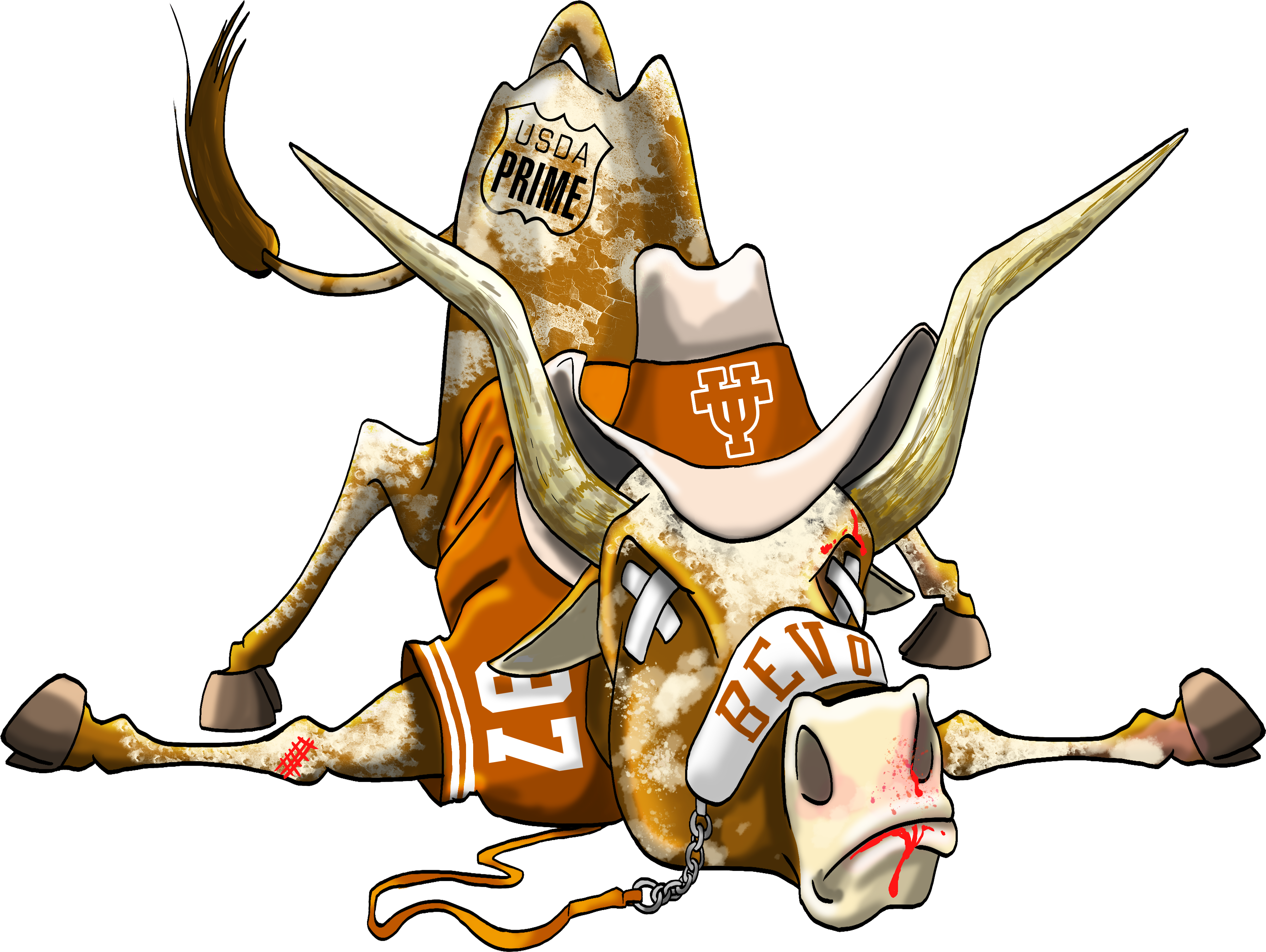 Longhorn clipart illustration. Defeated texas mascot cartoon