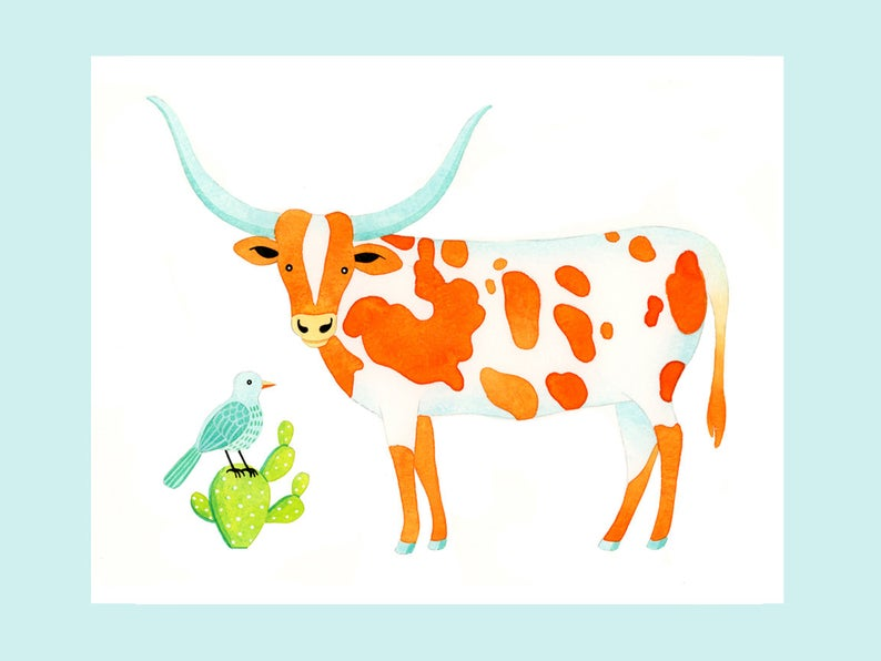 Longhorn clipart orange. Cow watercolor illustration print