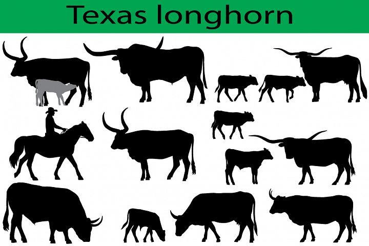 Longhorn clipart pencil. Texas cattle silhouettes clip