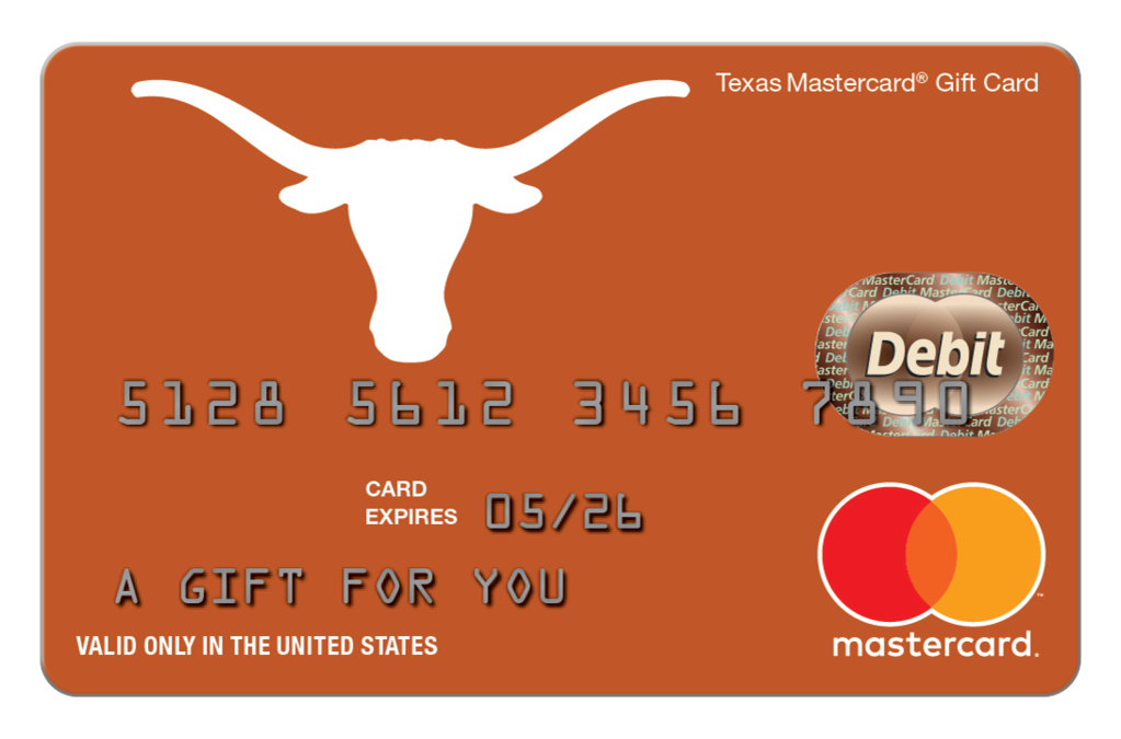 Mastercard gift card fancardgift. Longhorn clipart texas university