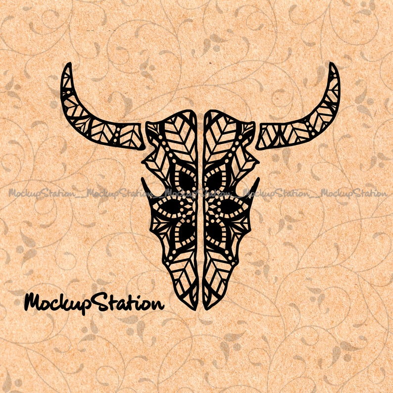 Longhorn clipart zentangle. Skull mandala svg bull