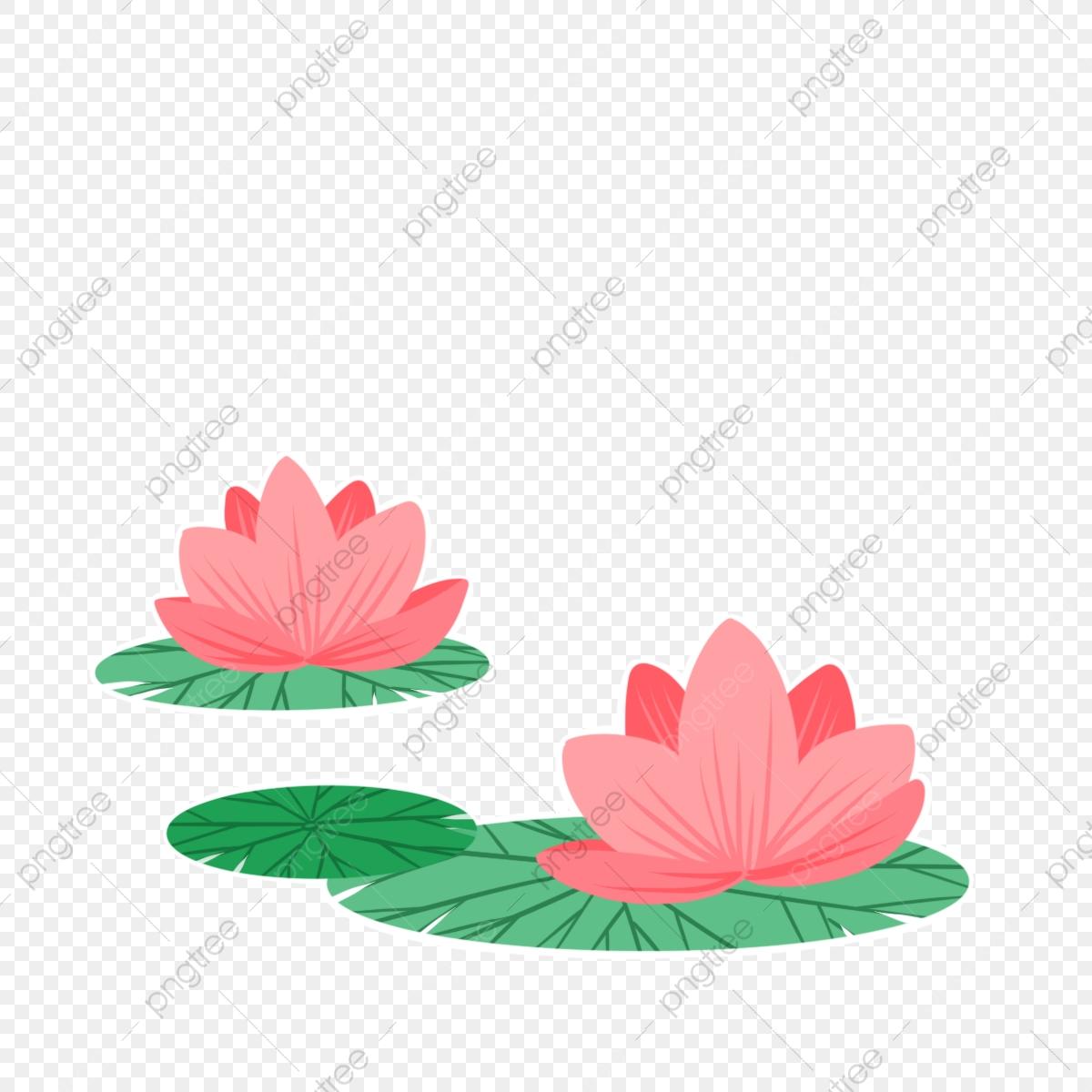 Hand drawn spring plants. Lotus clipart cute