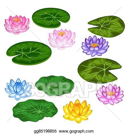 Lotus clipart leave drawing. Vector art natural set