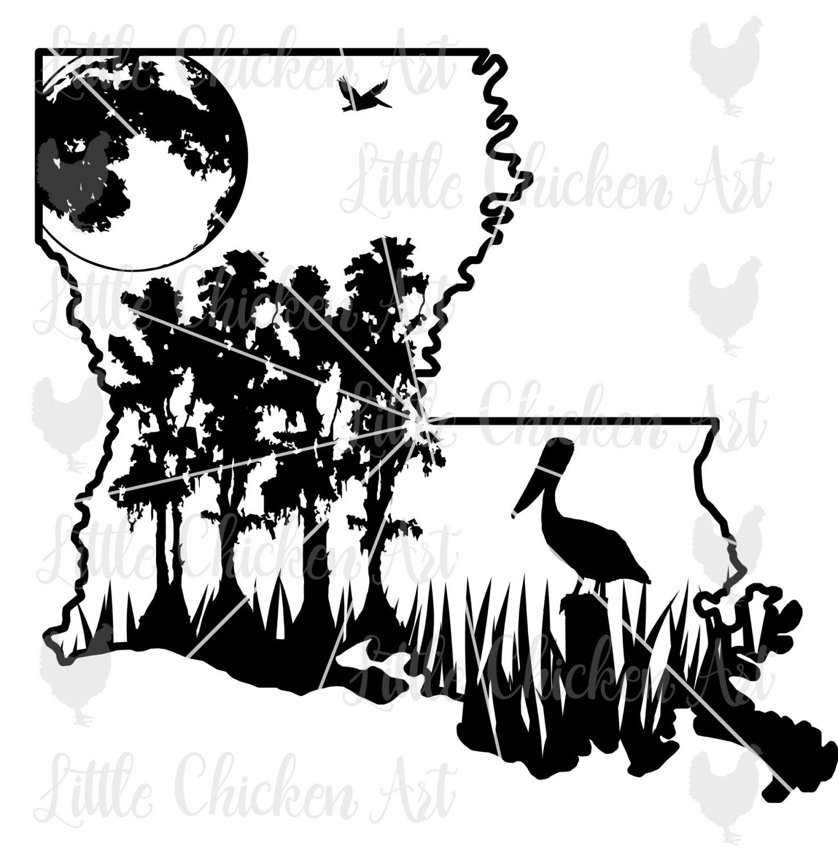 Swamp scene cut file. Louisiana clipart