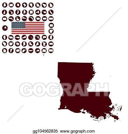 Vector illustration map of. Louisiana clipart background