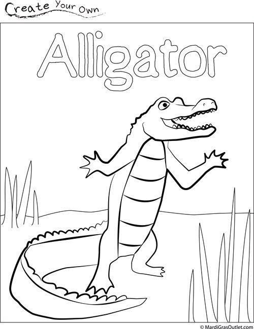 Louisiana clipart coloring page. Alligator library kids crafts