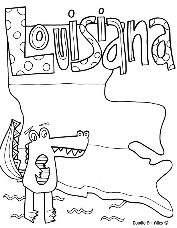 Louisiana clipart coloring page. By doodle art alley