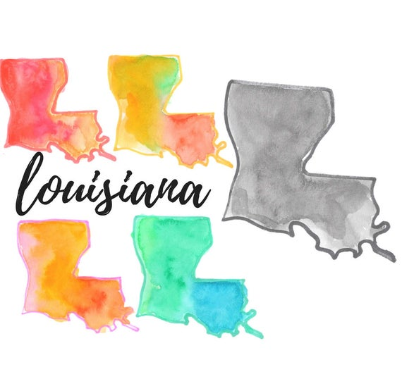 Louisiana clipart cool. State clip art watercolor