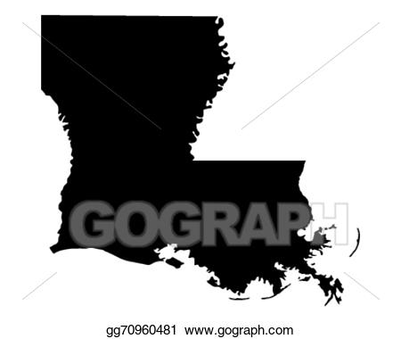 Louisiana clipart cool. Vector illustration map of