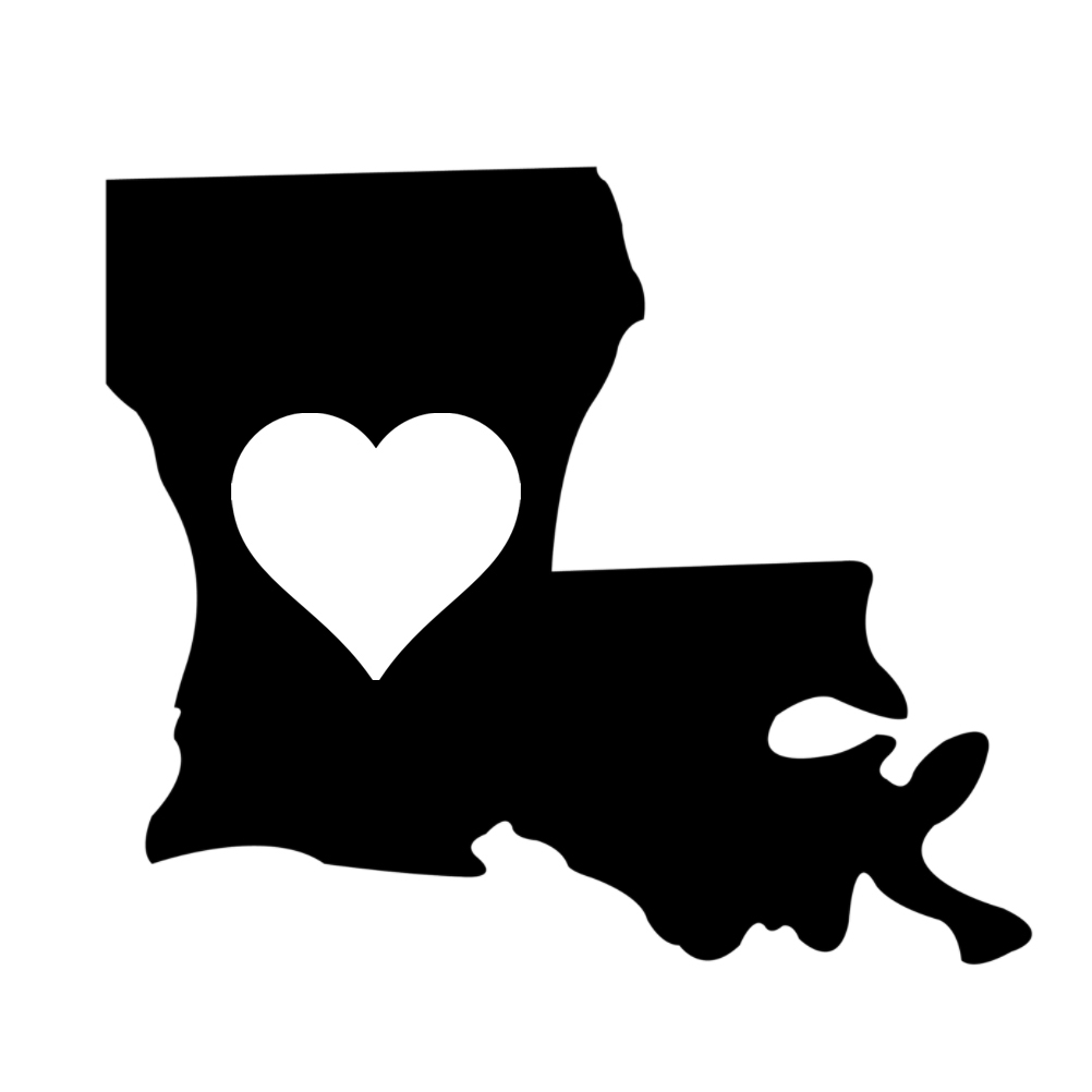 Heart state silhouette vinyl. Louisiana clipart decal
