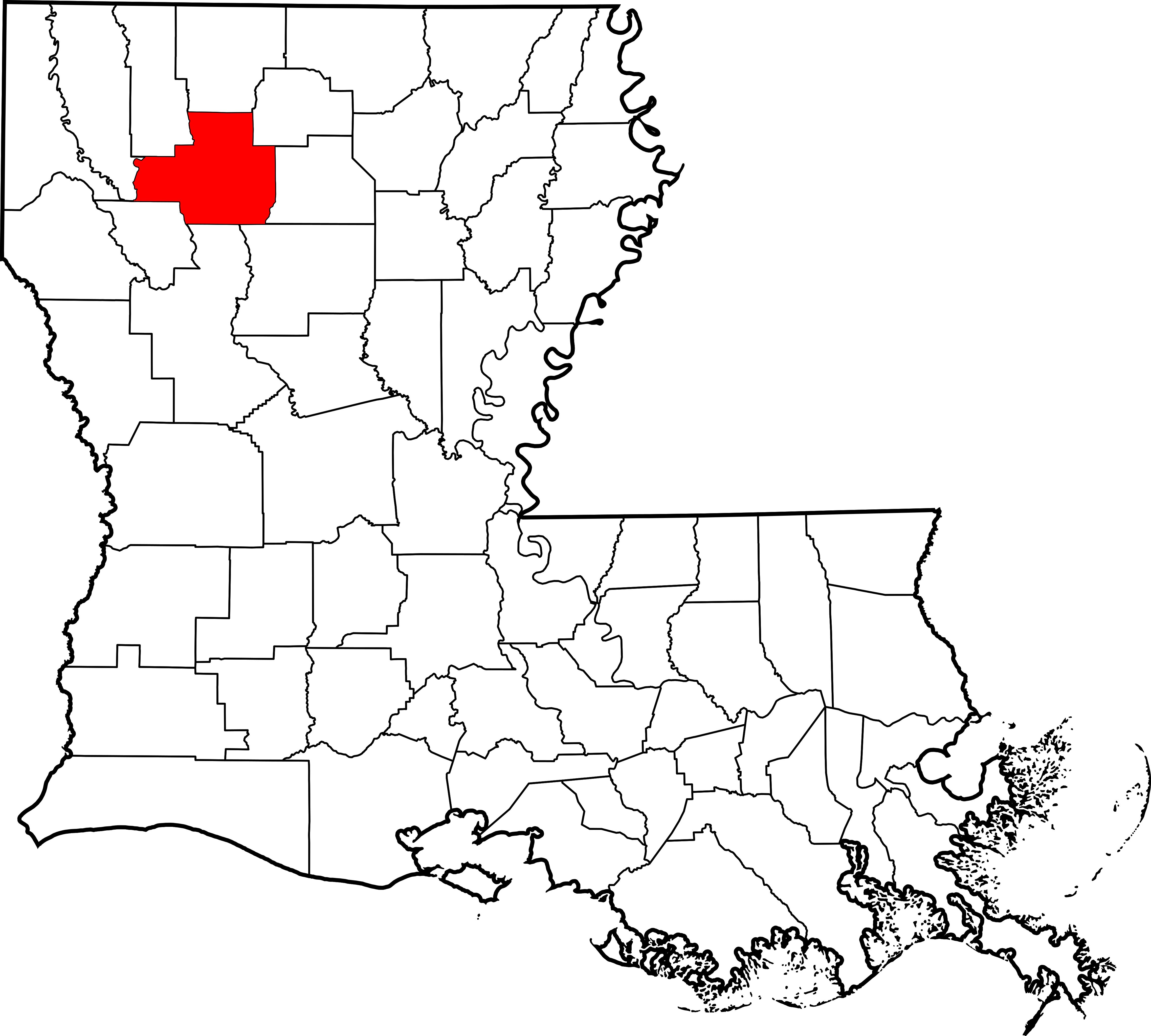 Map of highlighting bienville. Louisiana clipart file