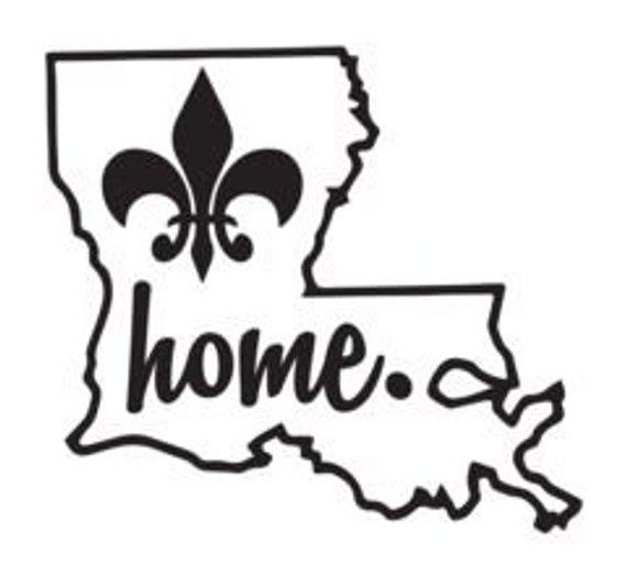 Louisiana clipart pride. State outline home fleur