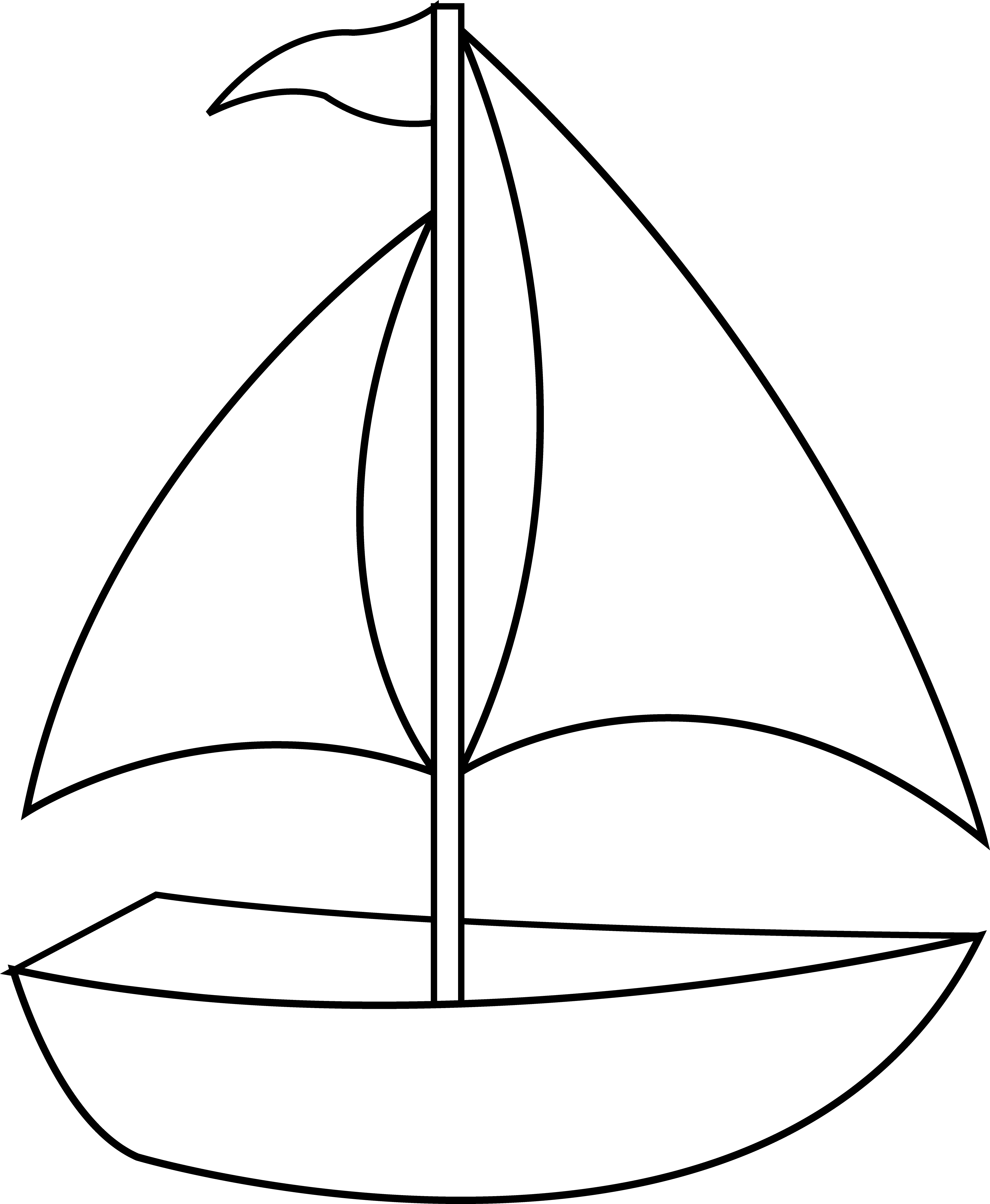 Colorable sailboat line art. Nautical clipart black and white