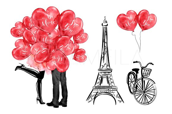 Paris illustrations creative market. Clipart love