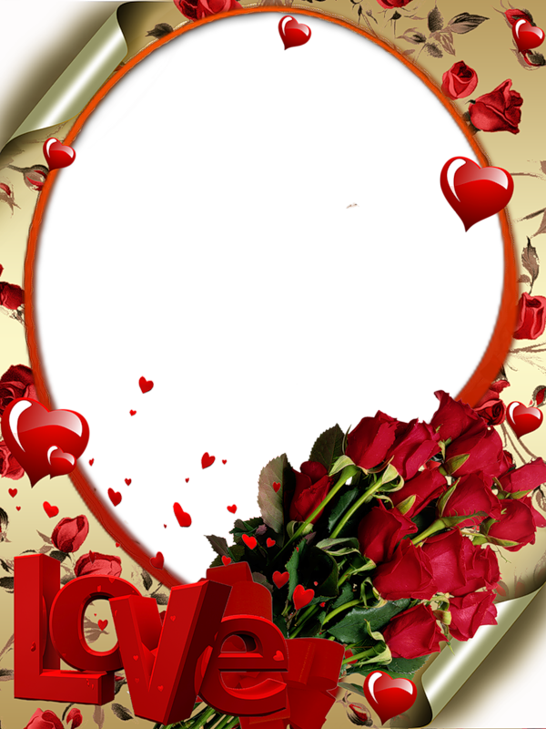 Red transparent with roses. Love frame png