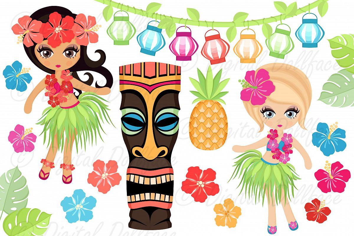 Luau clipart. By digital dollface design
