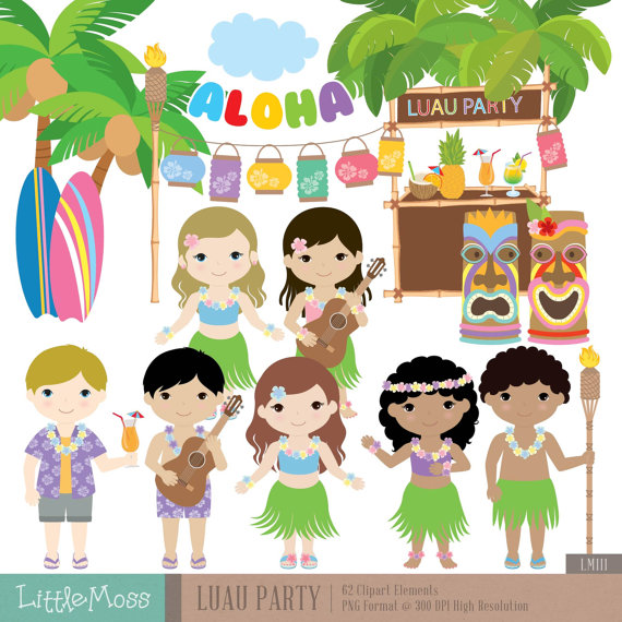 Luau clipart aloha. Party digital hawaii
