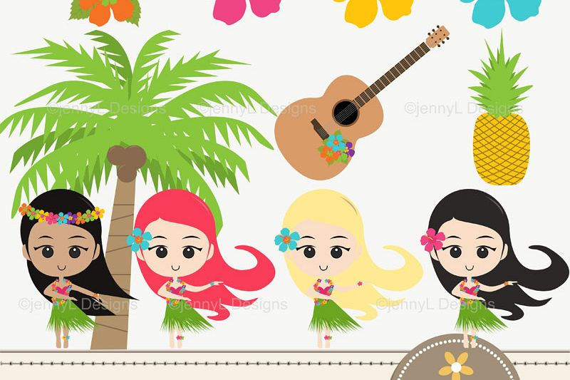 Hawaiian party hula girls. Luau clipart aloha