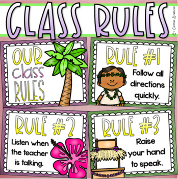 Luau clipart back to school. Classroom rules posters editable