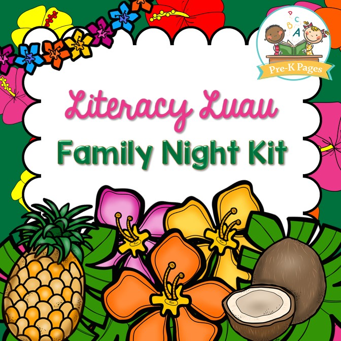 Luau clipart back to school. Literacy family night kit