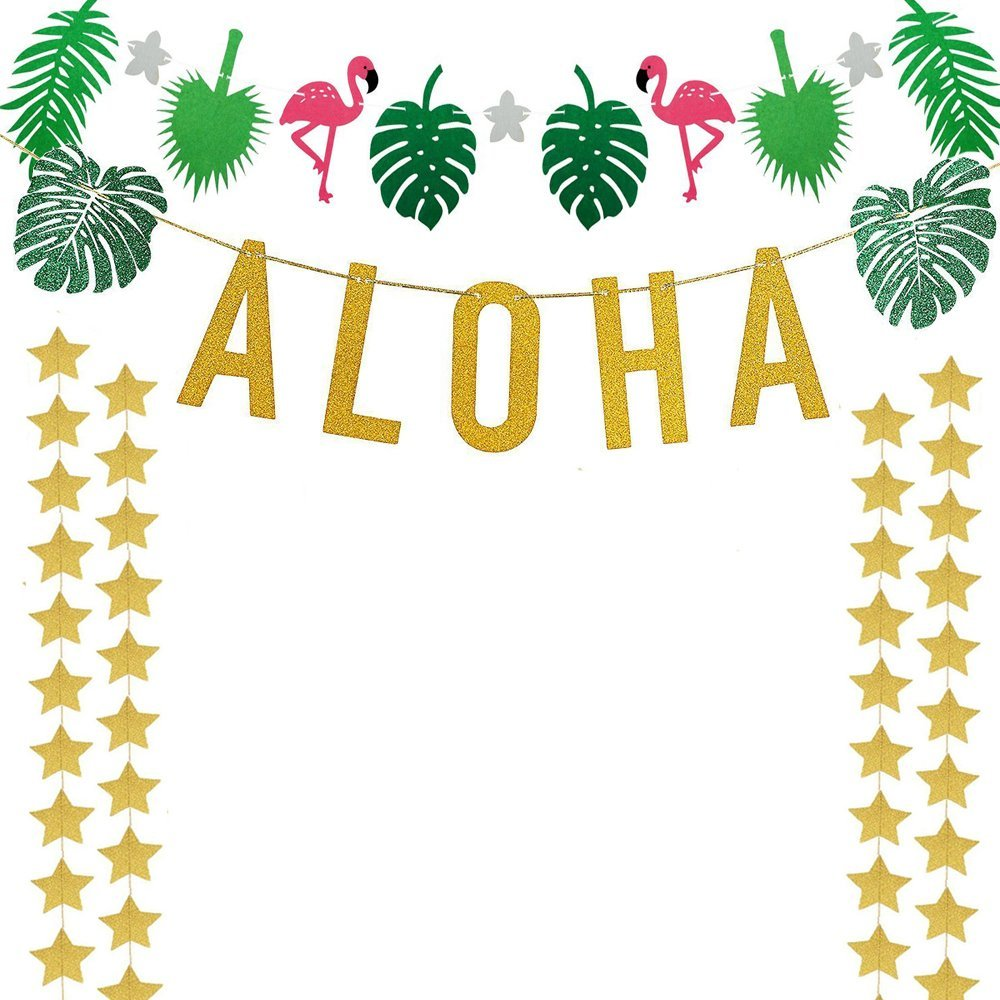 Luau clipart banner. Gold glittery aloha green