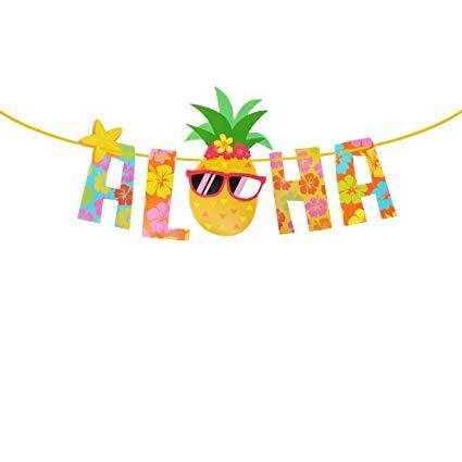 Tropical theme party decorations. Luau clipart banner