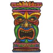 Hawaiian tiki face art. Luau clipart faces