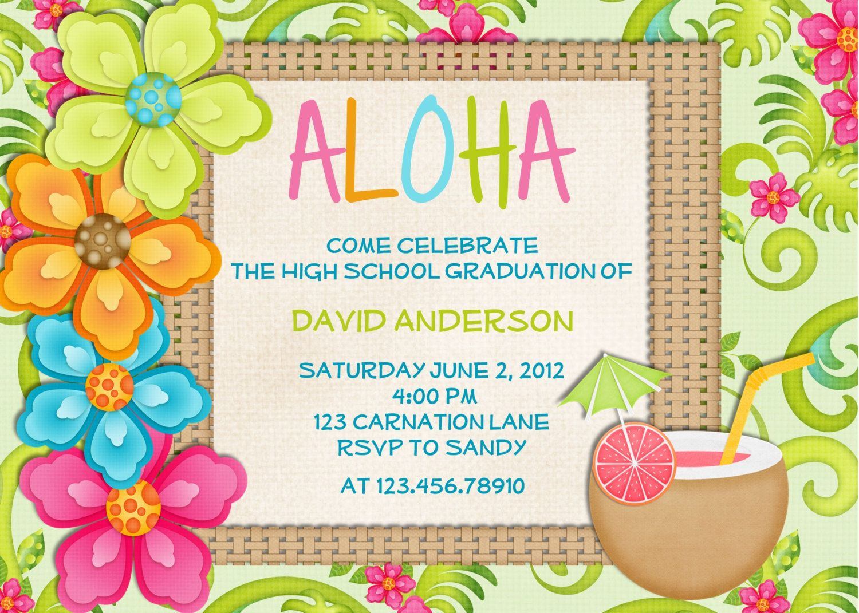 Hawaiian party invitations printable. Luau clipart graduation
