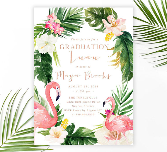 Party invitation flamingo . Luau clipart graduation