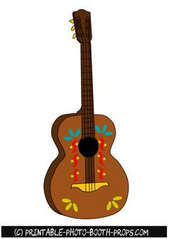 Luau clipart guitar mexican. Free printable prop fiesta