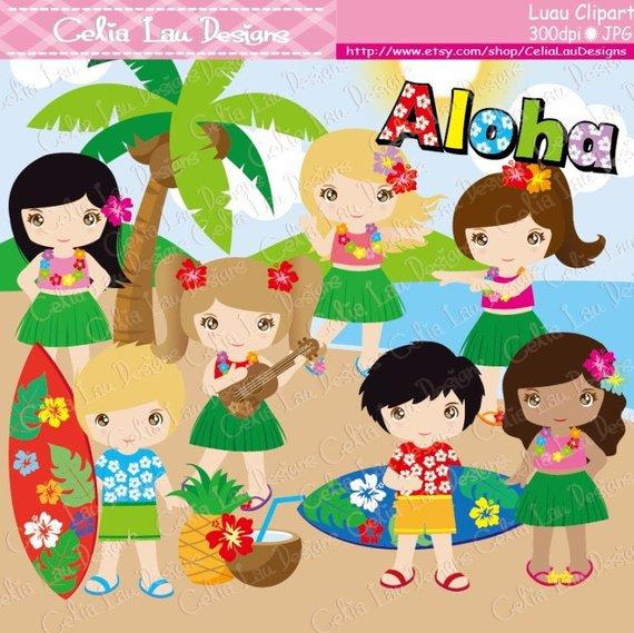 Luau clipart lady hawaiian. Party cute hula girl