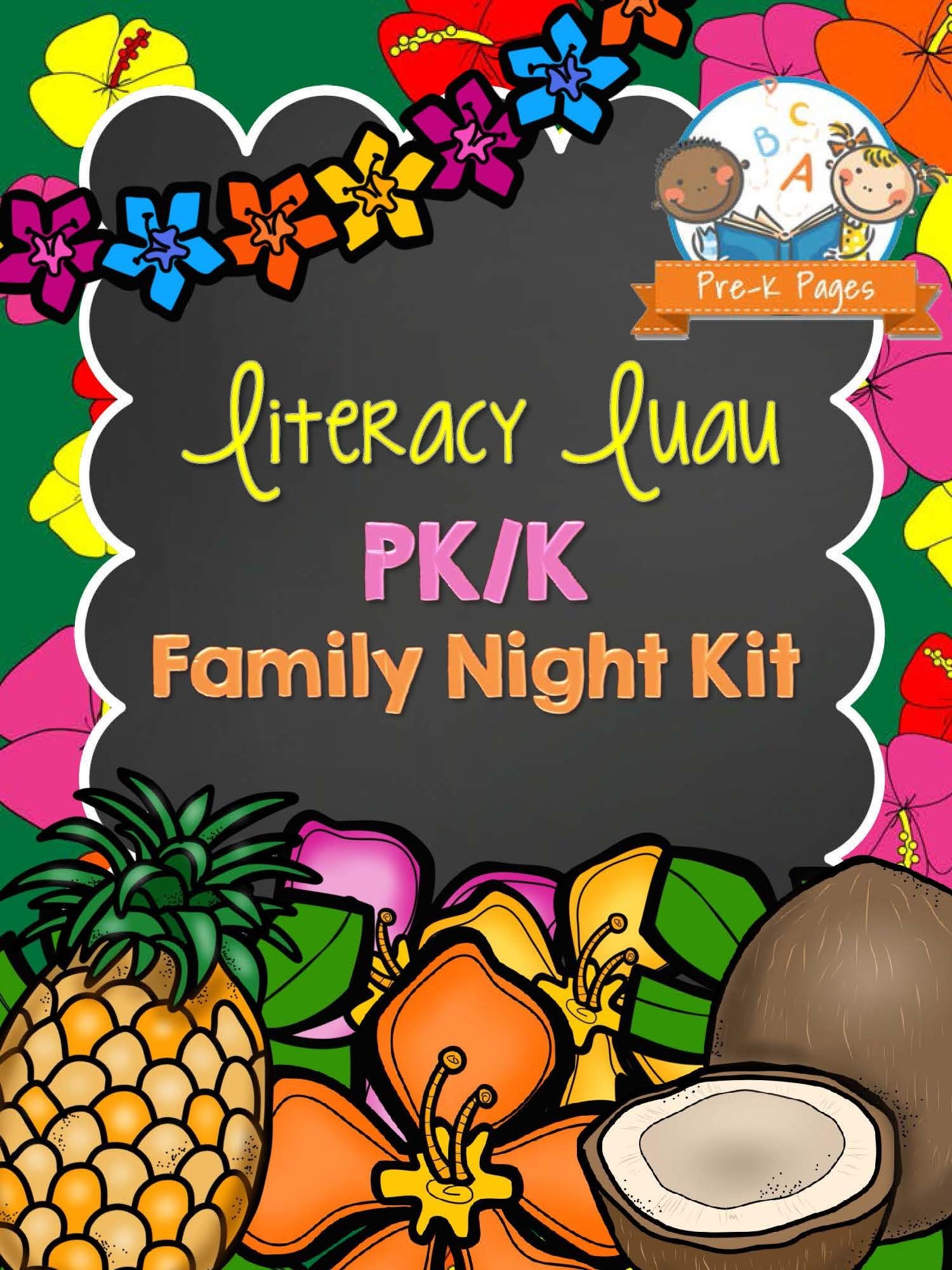 Luau clipart literacy. Family night kit preschool