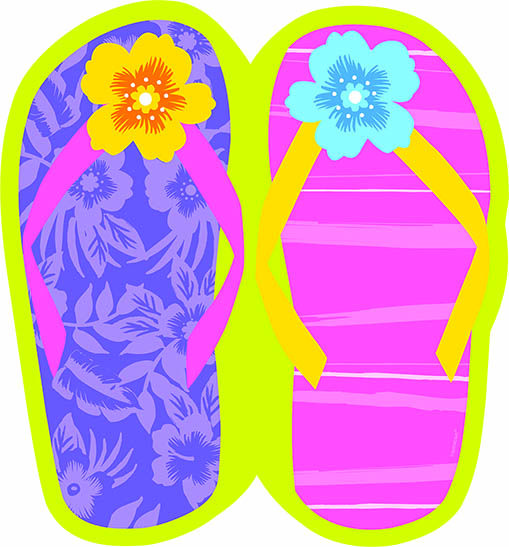 Luau clipart pink flip flop. Cutout craft table party
