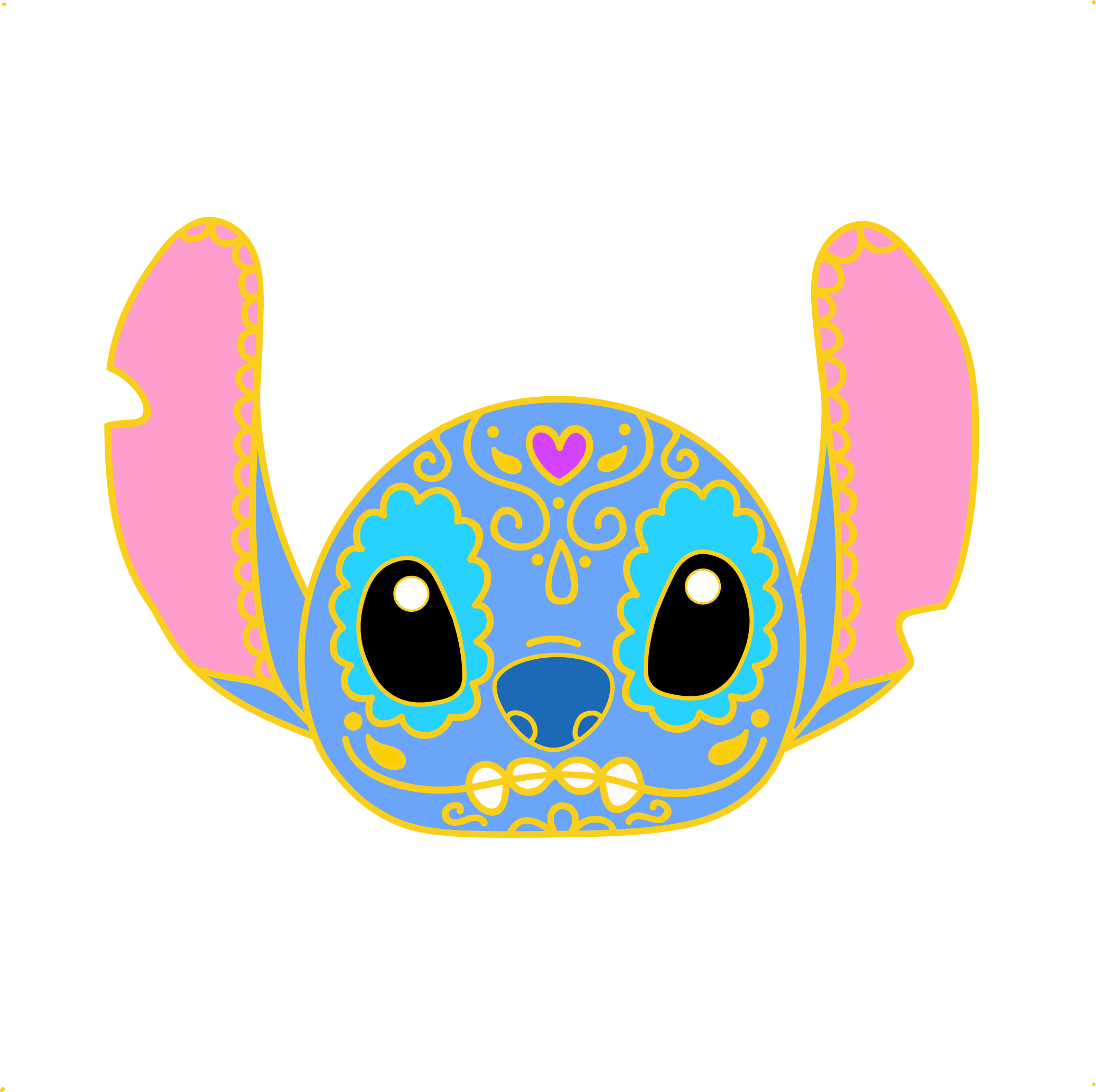 Stitch clipart galaxy. Cute sugar skull pin