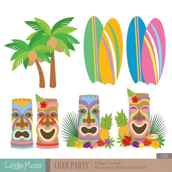 Party digital aloha hawaii. Surfing clipart luau decoration
