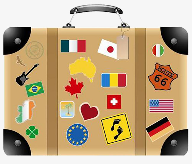 Vector hand painted trunk. Luggage clipart