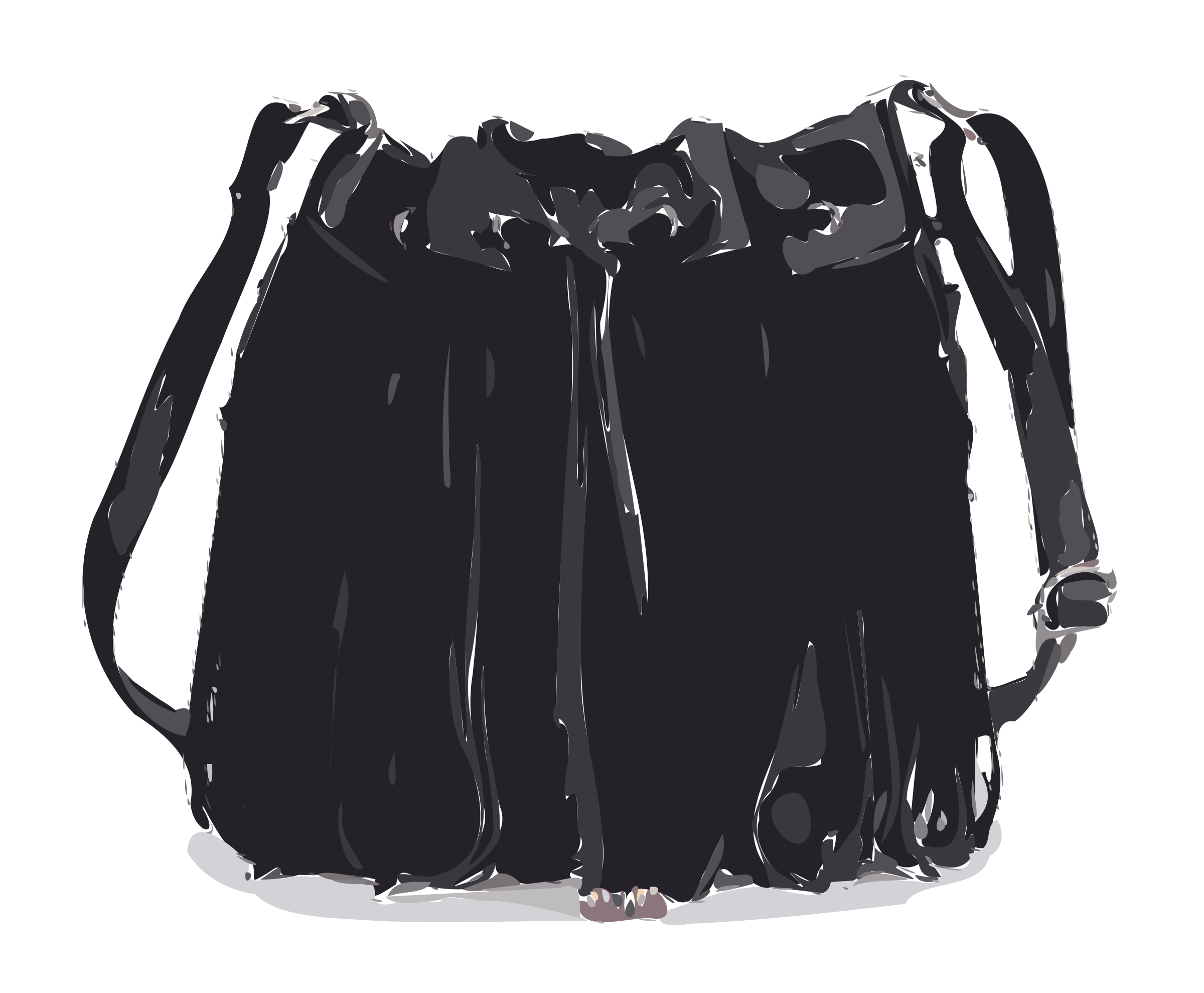 Tassled leather bag no. Luggage clipart black and white