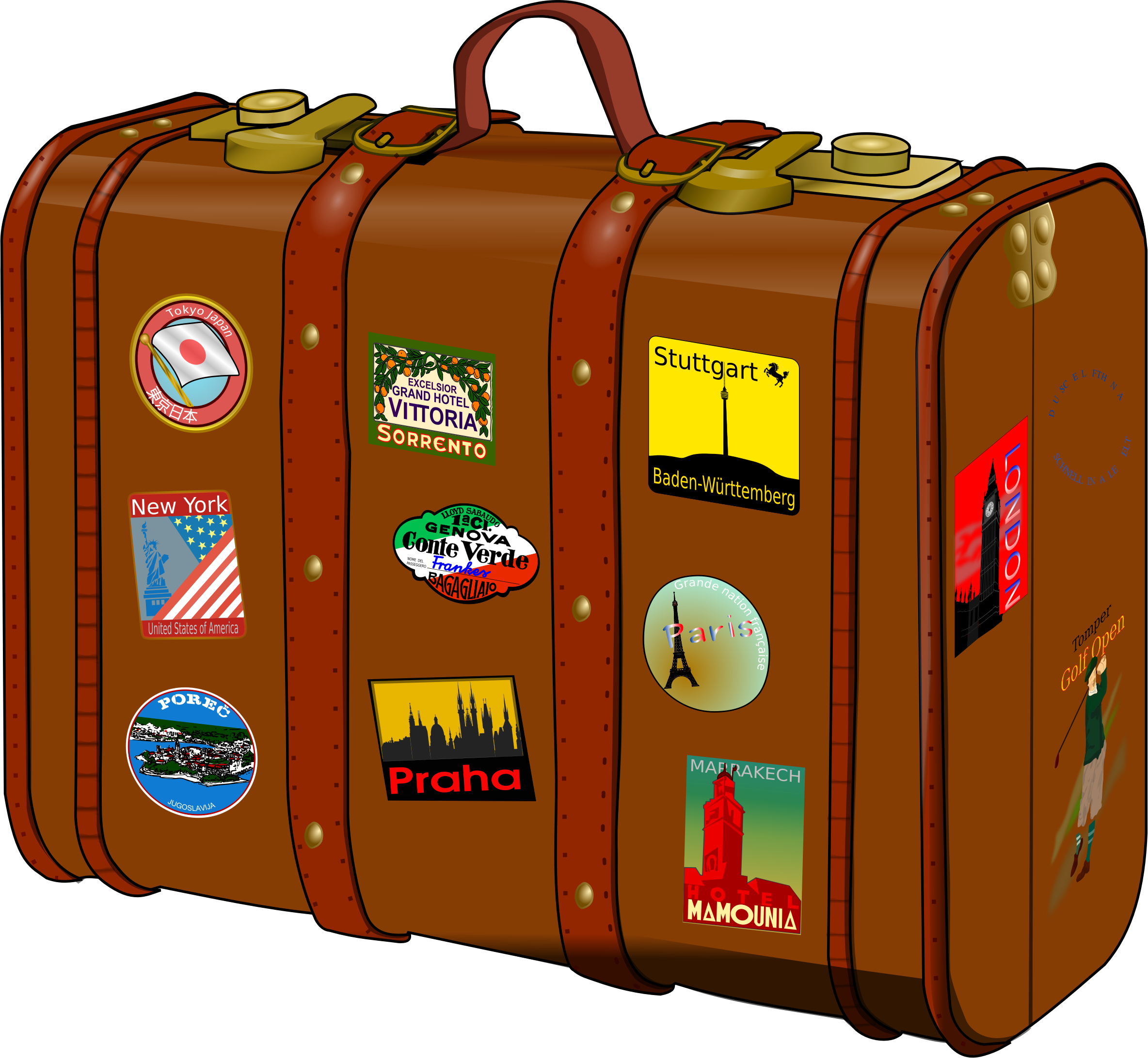 Luggage clipart bon voyage. Suitcase with stickers no