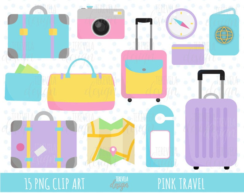 sale travel pink. Luggage clipart cute